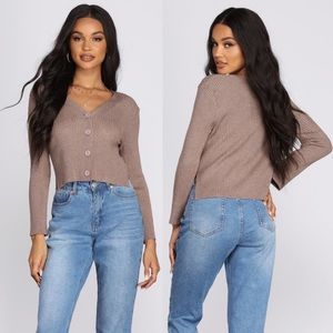Windsor Cropped Brown Cardigan